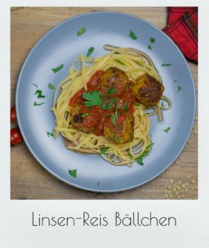 Linsen-Reis Bällchen mit  Pasta